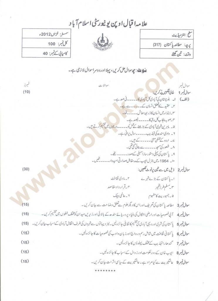 AIOU Pakistan Studies Code 314 old paper 2014