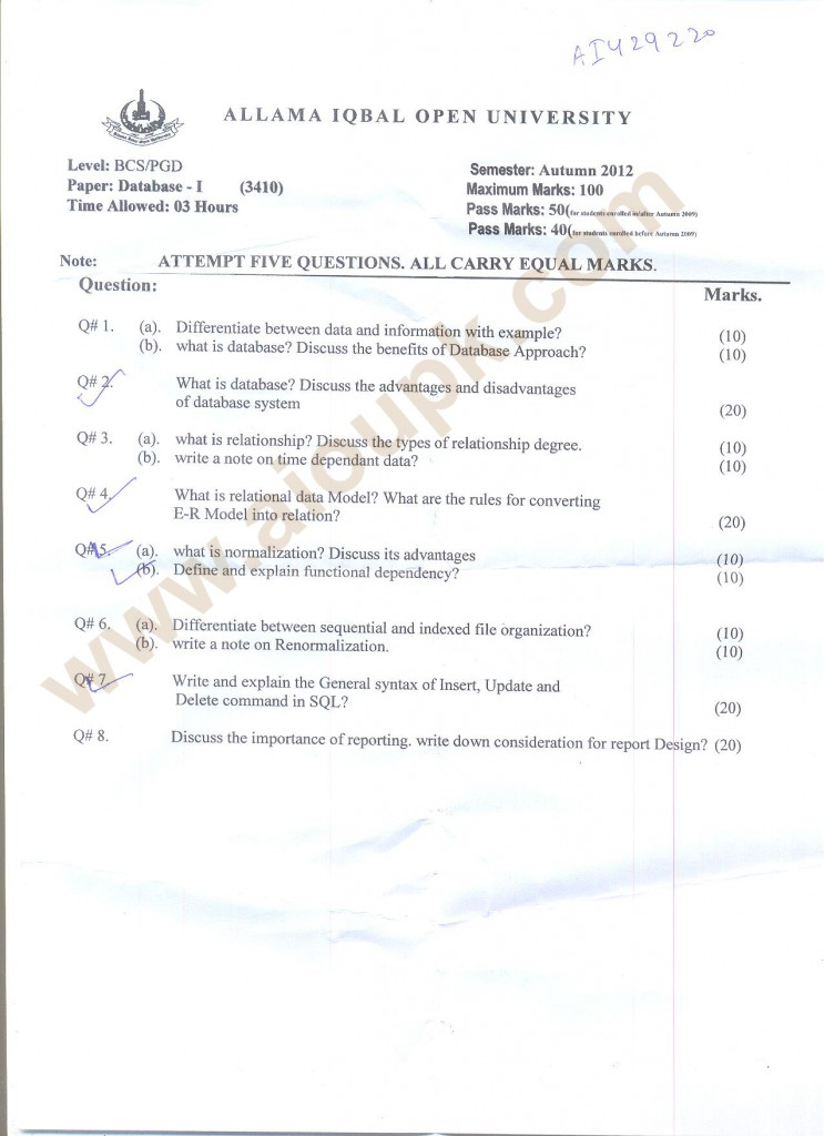 Databases-I BSCS AIOU Old Paper Autumn 2013