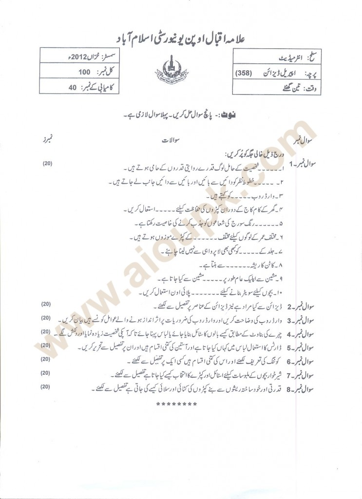 Apparel Design Code 358 AIOU Past Papers