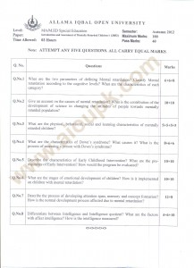 Introduction and Assessment of Mentally Retarded Children-I code 3603