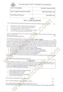 Compulsory English-II Code 387 AIOU Old paper
