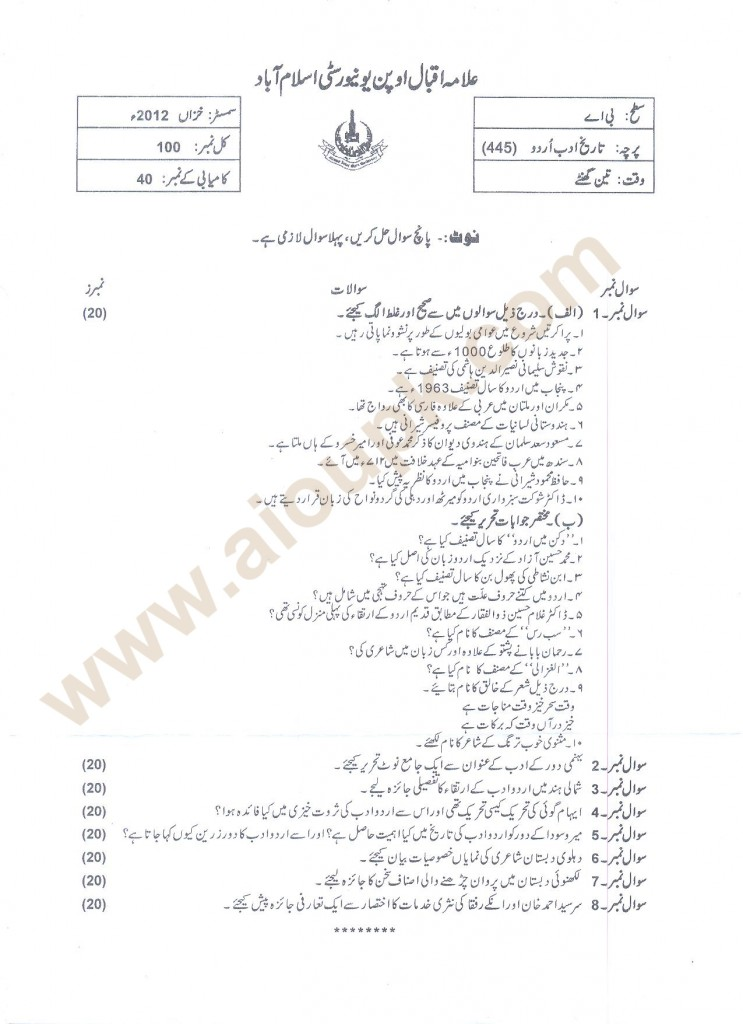 History of Urdu Literature Code 445 BA old paper of AIOU