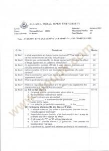 Mercantile Law Code 460 BA old Paper of AIOU Autumn 2014