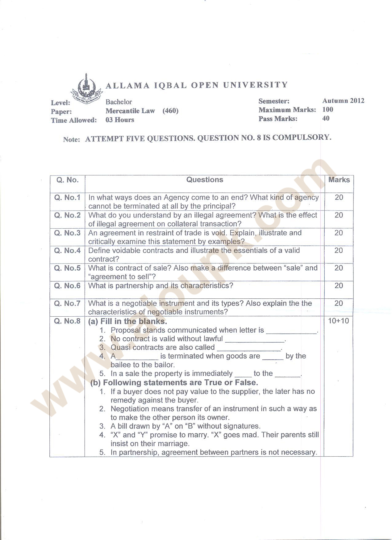 business law past paper 2013 punjab university Bba programs of university of the punjab past papers download previous  download past papers download past papers of pu for  get admission in business.