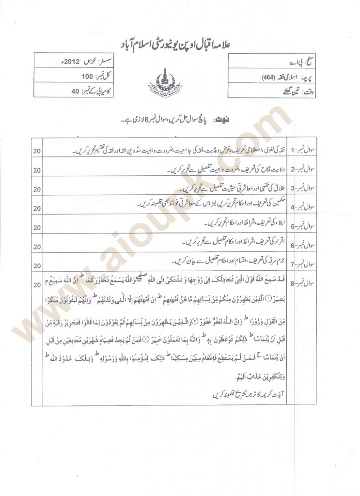 Allama Iqbal Open University old papers free