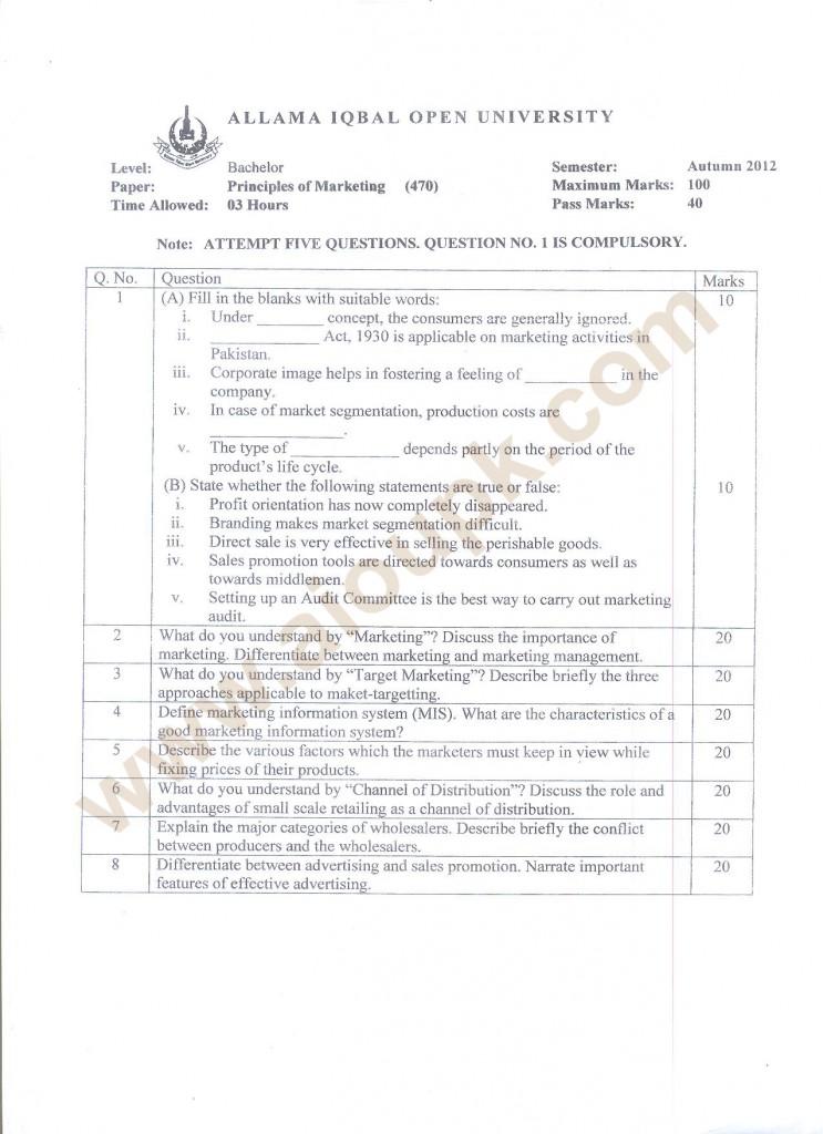Principles of Marketing Code 470 BA old paper