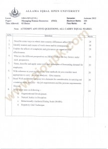 Managing Human Resources MBA AIOU old papers