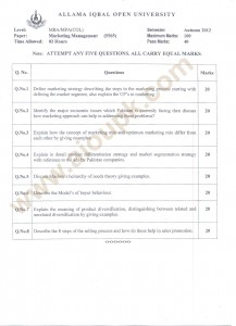 Marketing Management MBA code 5565 AIOU Past papers free 2014