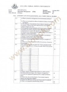 Operations Management Code 5568 AIOU Old Papers free MBA COL MPA