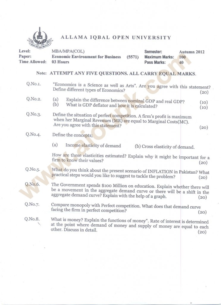 Economic Environment for Business Code 5571 AIOU MBA past papers