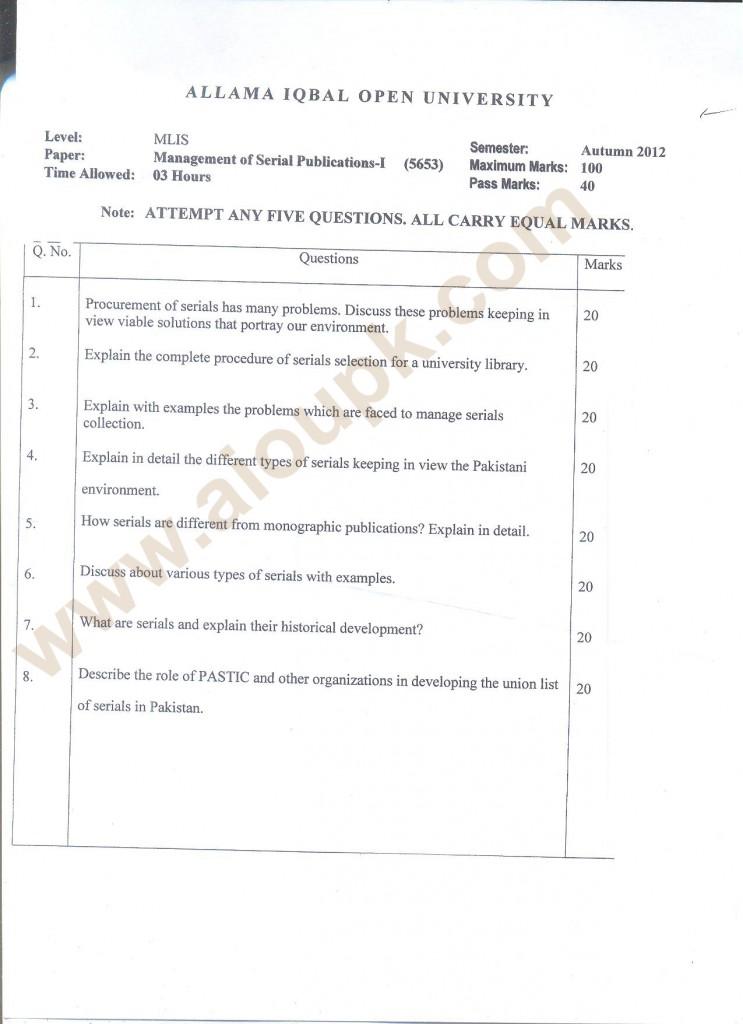 Management of Serial Publications-I 5653 MLIS AIOU