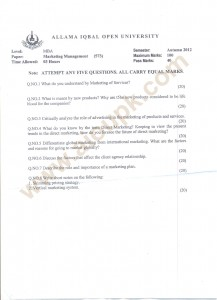 MBA AIOU Papers code 573 Marketing Management