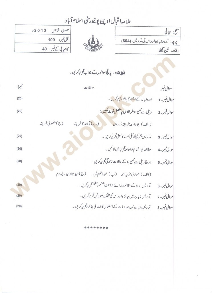 Urdu and Its Teaching Code 604 AIOU Old Papers