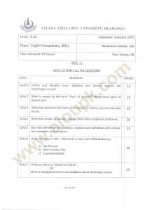 Autumn 2012 BA English Compulsory Code no 651 old papers