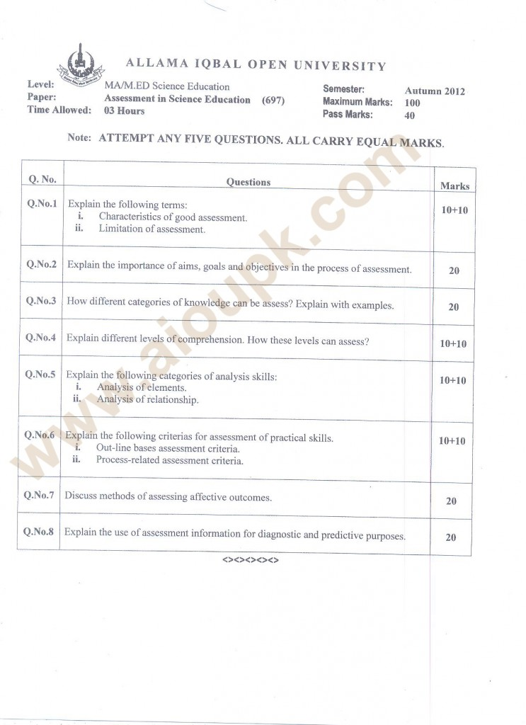 Assessment in Science Education Code 697
