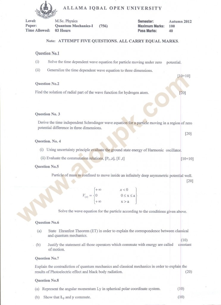 Quantum Mechanics-I  Code 756 AIOU Papers