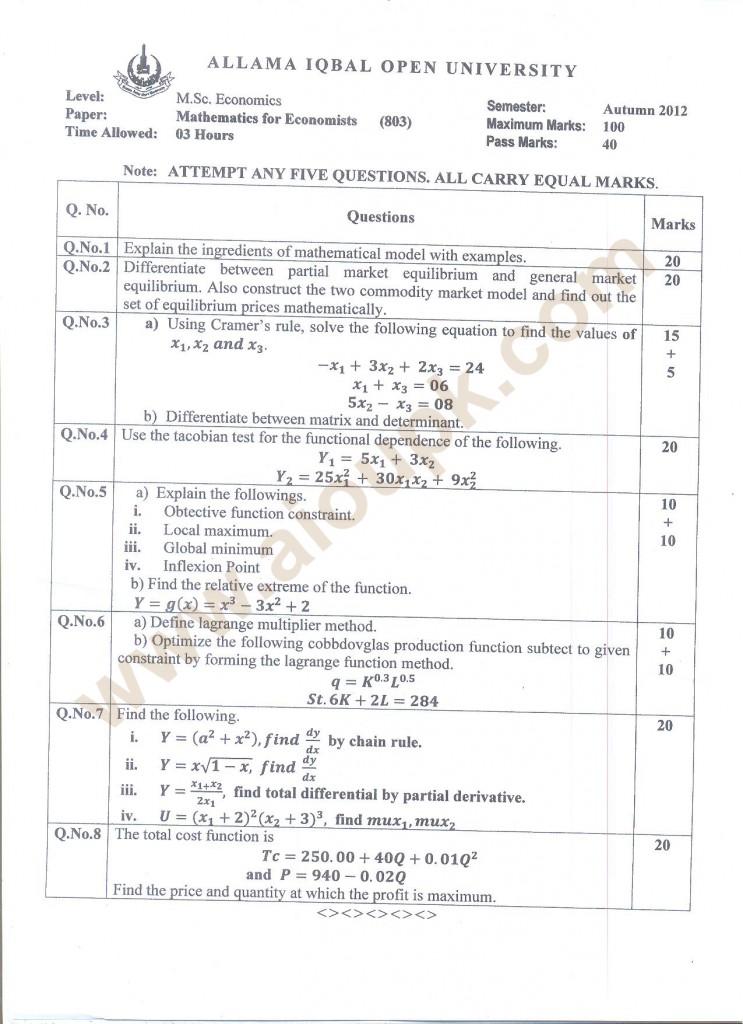 Mathematics for Economists Code 803