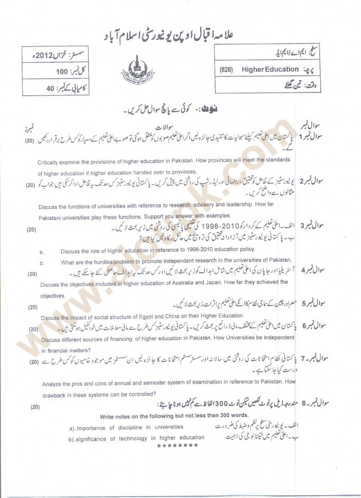 Higher Education  Code 828 AIOU Past papers