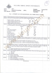 Financial Accounting Code 8501