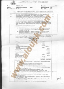 Side A 2013 old paper MBA AIOU Financial Accounting