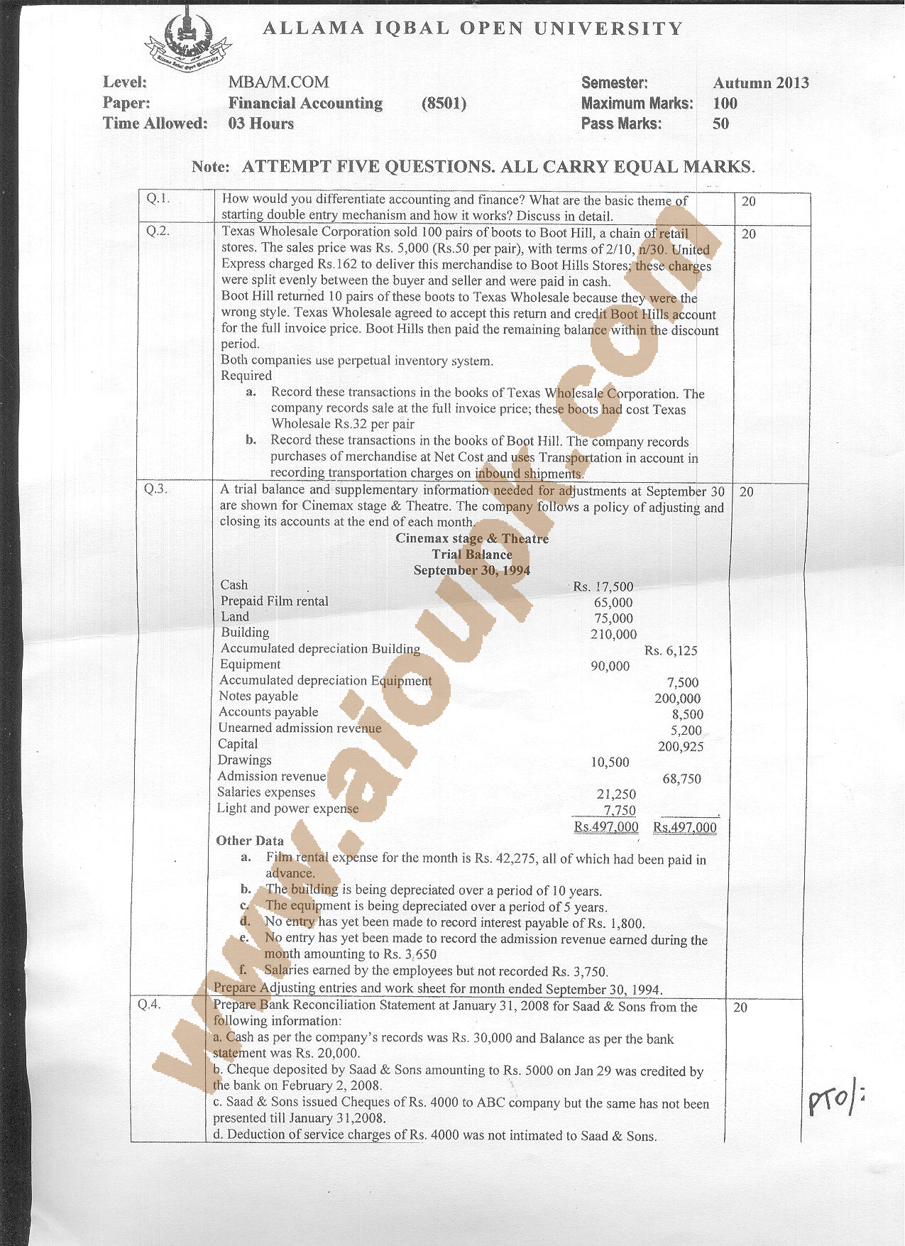 financial accounting mba code 8501 aiou old papers of autumn side a 2013 old paper mba aiou financial accounting