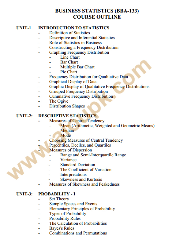 133 - Business Stats Course outlines 1