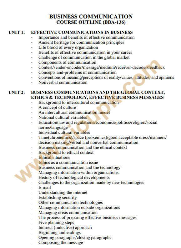 136 - Business Communication Course Outlines 1