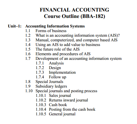 182 - Financial Accounting Course Outline 1