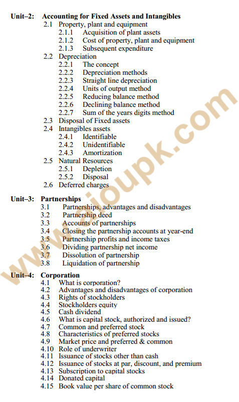 182 - Financial Accounting Course Outline 2