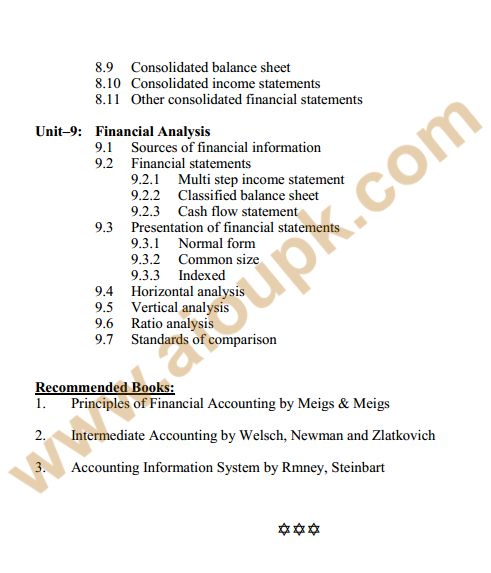 182 - Financial Accounting Course Outline 4