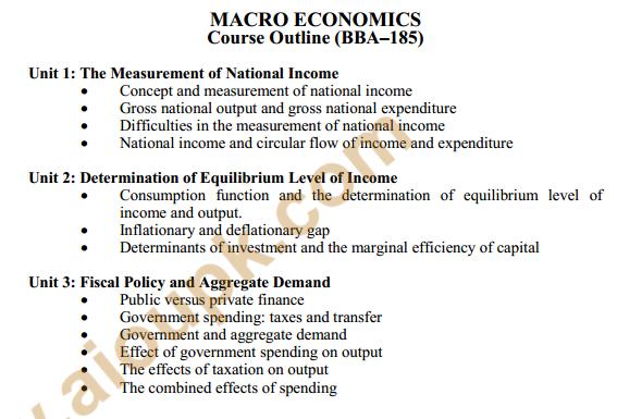 185 - Macro Economics Course Outline 1