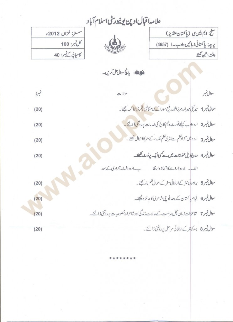 Pakistani Languages & Literature-II Code 4657 AIOU Past Papers 2014 masters