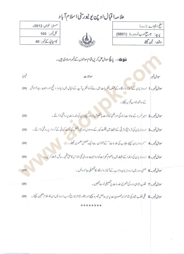 History of Urdu Adab-I code 5601