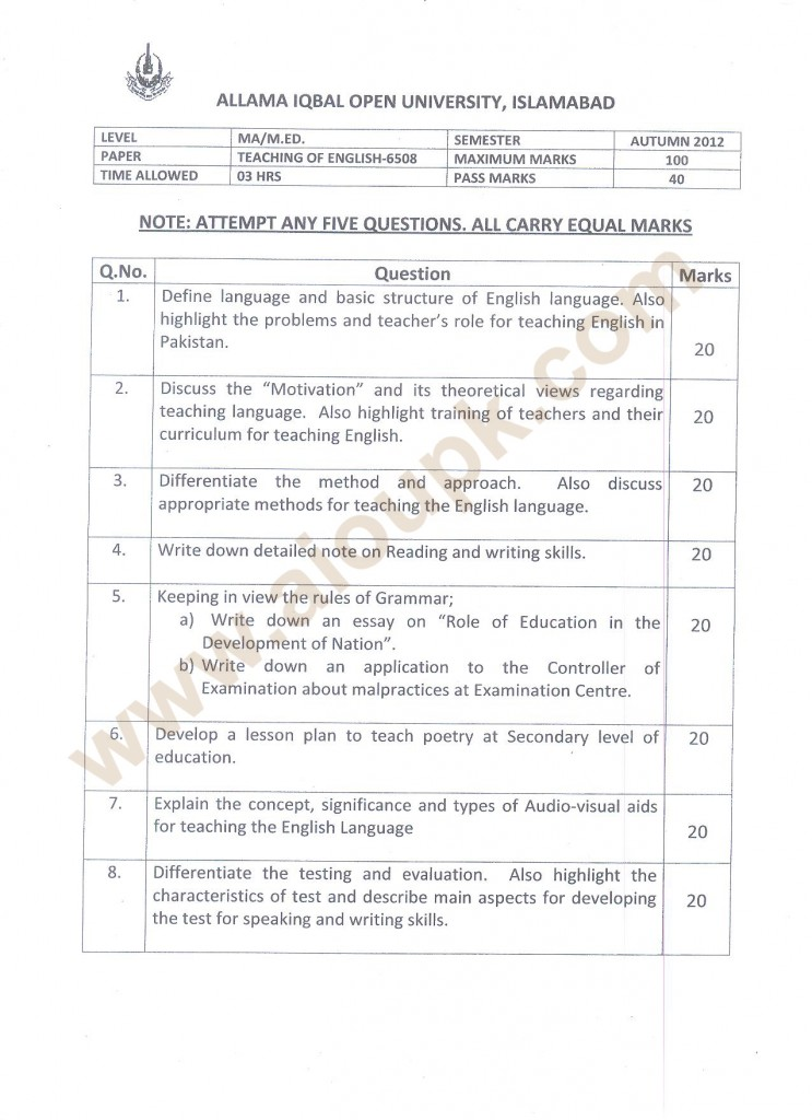 Teaching of English  Code 6508 AIOU Papers MA