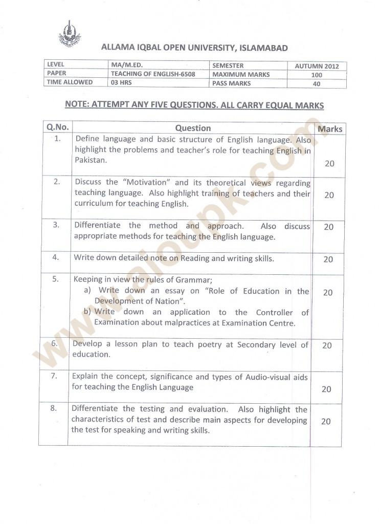 Teaching of English  Code 6508 AIOU Papers MA