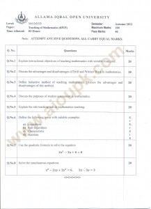Teaching of Mathematics Code 6515 MA/M.Ed