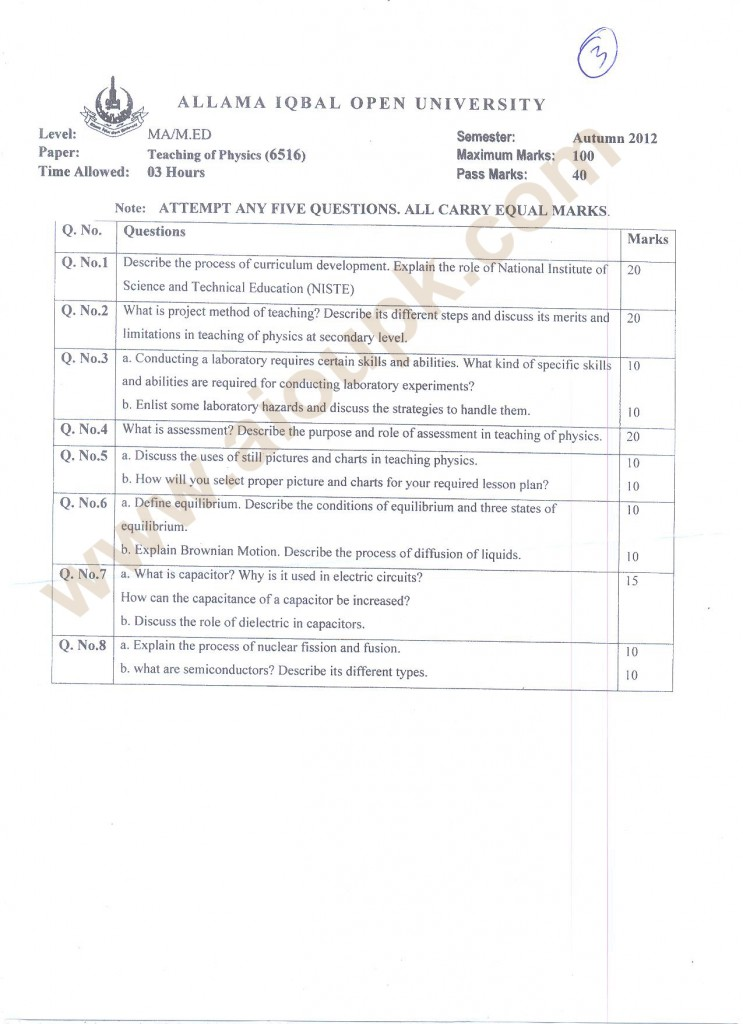 MA AIOU Past Papers Teacher Education 2014 code 6516