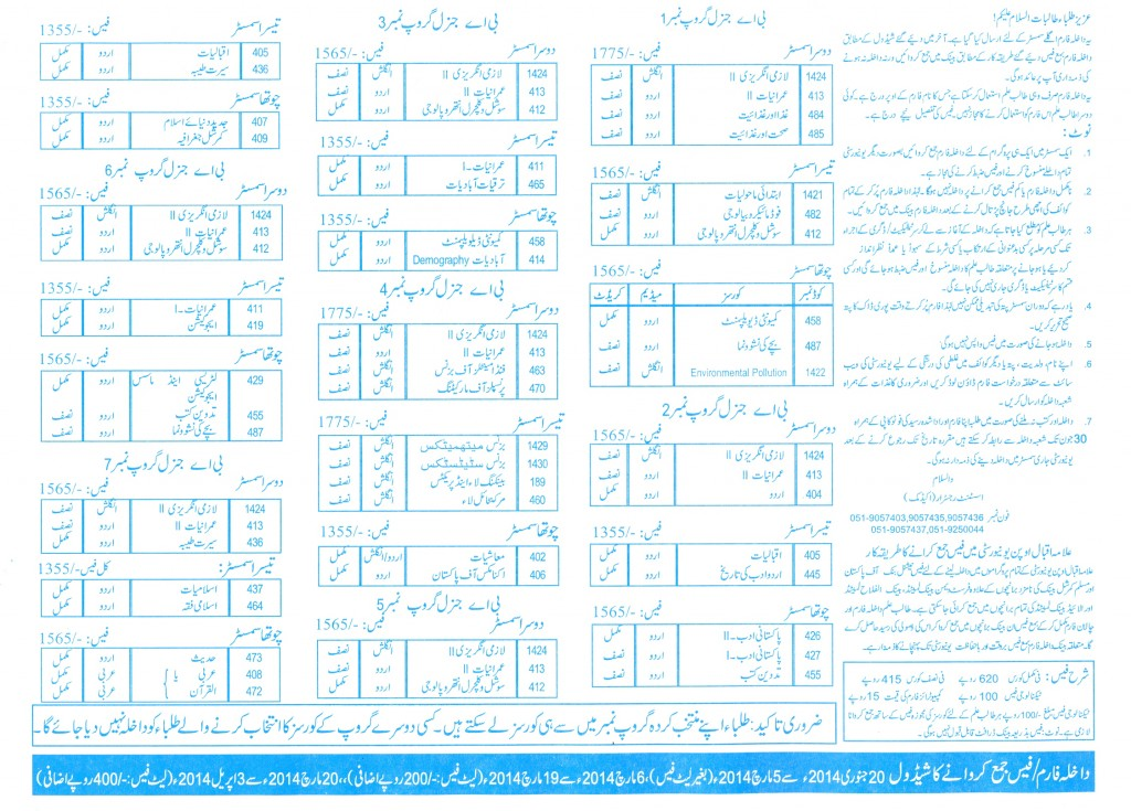 Bachelors of Arts AIOU fees details of Spring 2014