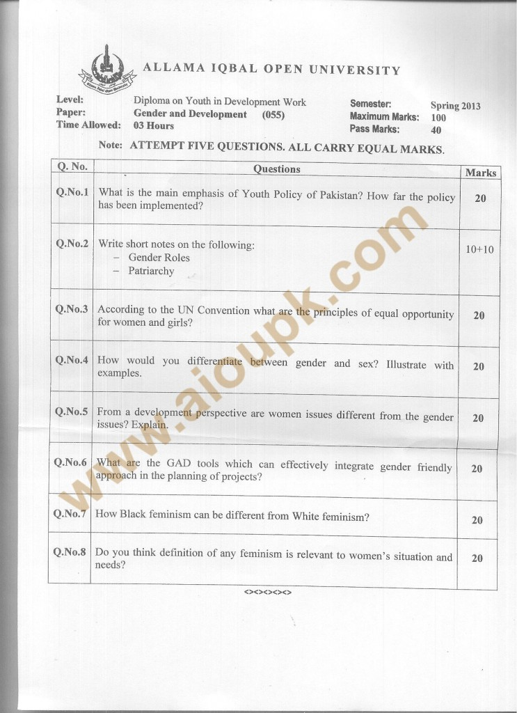 Code 055 AIOU Old Paper Gender and Development diploma