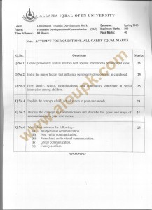 Code No. 065 AIOU Old Paper Educational Research