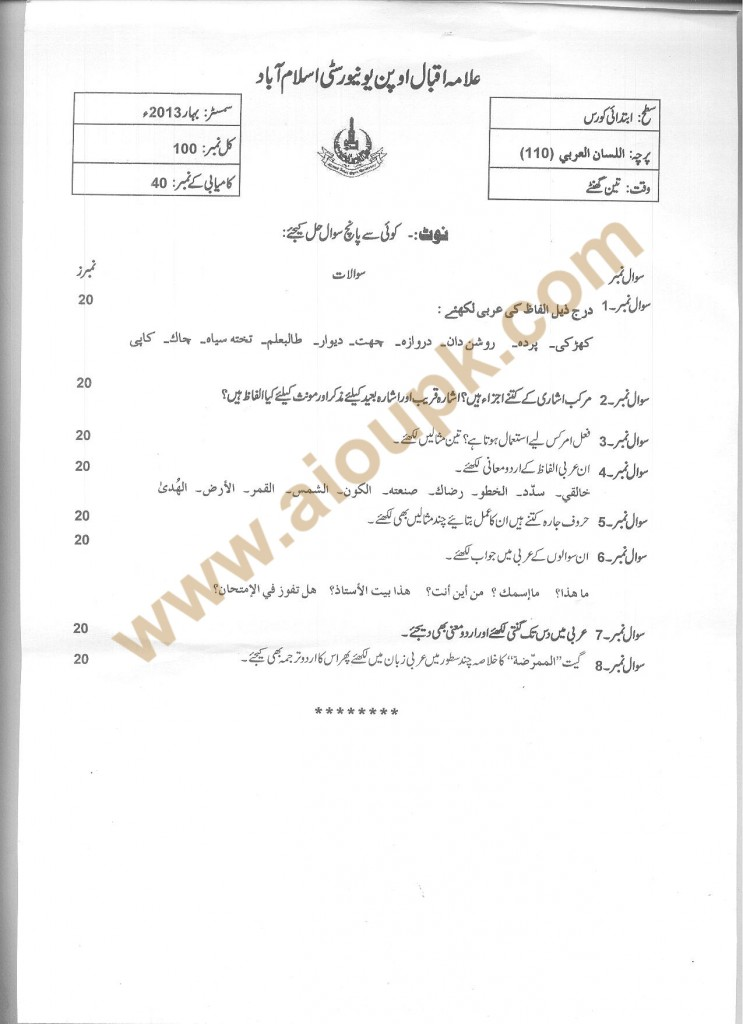 Code no 110 AIOU Old Paper  Lisan-ul-Arb Spring 2013