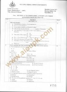 Code 1307 a AIOU Old Paper Mathematics-I