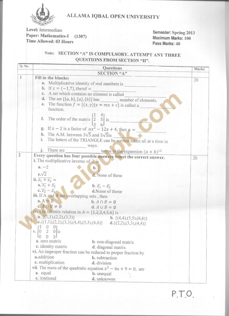 Code 1307 a AIOU Old Paper Mathematics-I