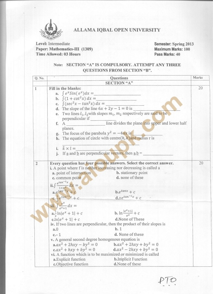 Code 1309 a AIOU Old Paper Mathematics-III Code 325
