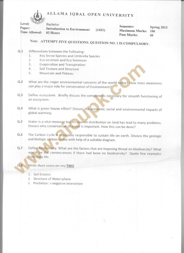 Introduction to Environment  Code 1421 AIOU Old Papers BA Spring 2013