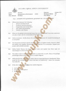 AIOU Old Paper Code 1421 Introduction to Environment 2015