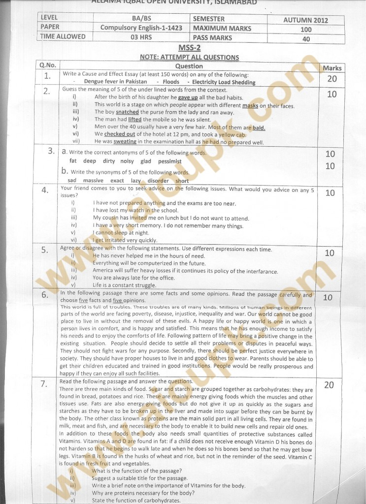 Code 1423 AIOU Old Paper Compulsory English-I BA/BS Spring 2013