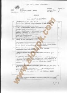 AIOU old paper BA BS Code 1423 Compulsory English-I 2015