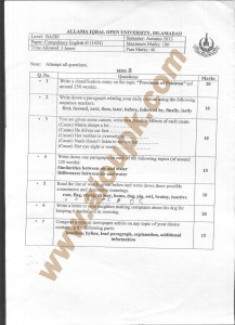 AIOU Old Paper Code 1424 Compulsory English -II