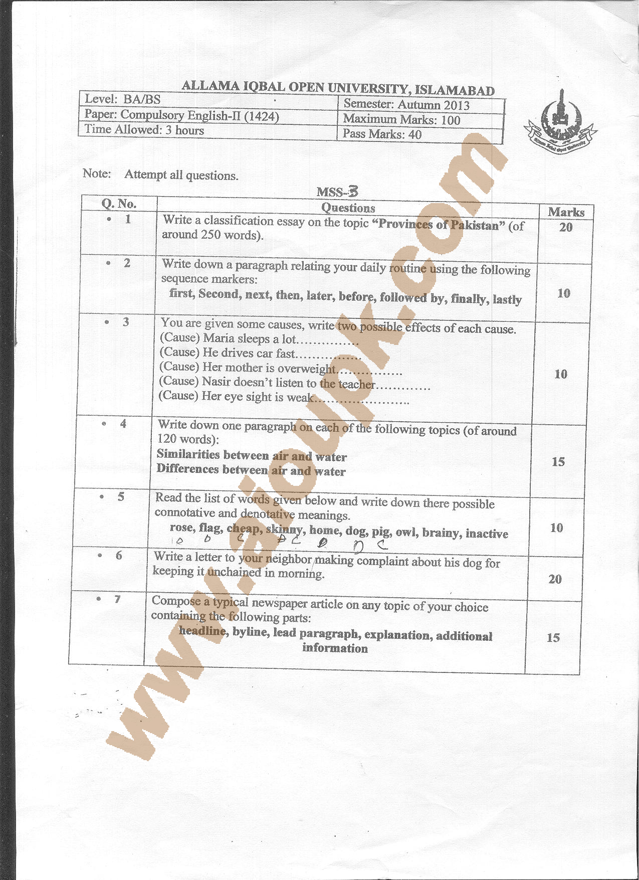 english ii code ba bs aiou old paper spring  aiou old paper code 1424 compulsory english ii